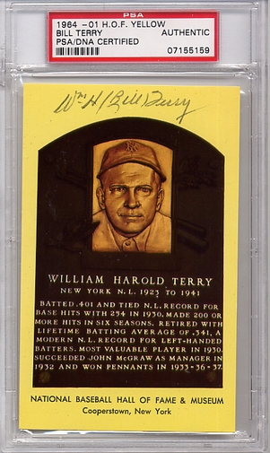 Bill Terry PSA/DNA Certified Authentic Autograph HOF Plaque