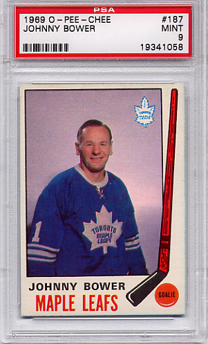 1969 O-Pee-Chee Johnny Bower #187 PSA 9