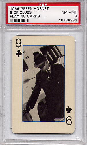 1966 Green Hornet Playing Cards - 9 Of Clubs PSA 8
