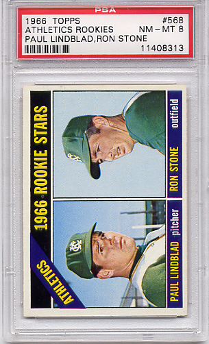 1966 Topps Athletics Rookies #568 PSA 8