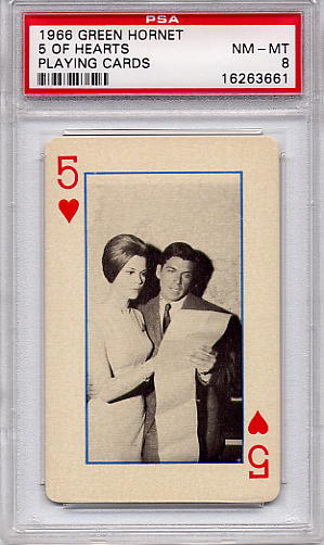1966 Green Hornet Playing Cards - 5 Of Hearts PSA 8