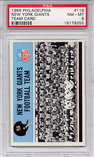 1966 Philadelphia - New York Giants Team #118 PSA 8