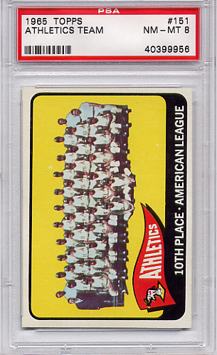 1965 Topps Athletics Team #151 PSA 8