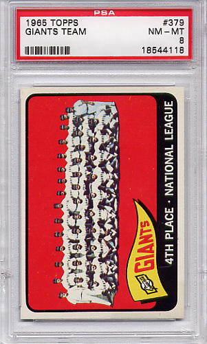 1965 Topps Giants Team #379 PSA 8