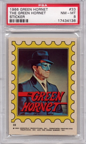 1966 Green Hornet Sticker - The Green Hornet #33 PSA 8