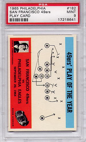 1965 Philadelphia - San Francisco 49ers Play Card #182 PSA 9