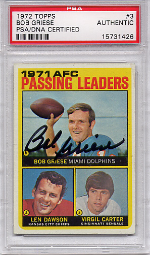 Bob Griese PSA/DNA Certified Authentic Autograph