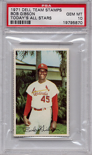 1971 Dell Team Stamps Bob Gibson PSA 10