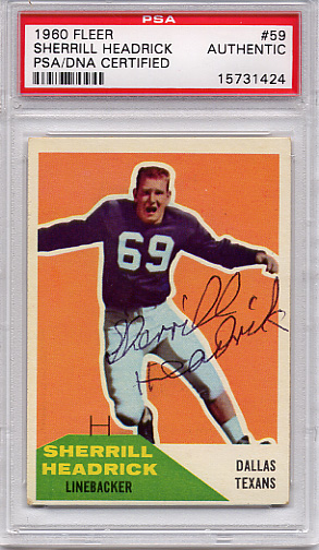 Sherrill Headrick PSA/DNA Certified Authentic Autograph