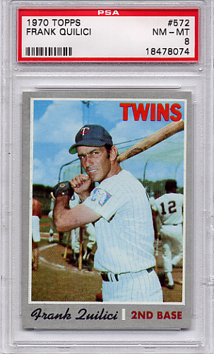 1970 Topps Frank Quilici #572 PSA 8