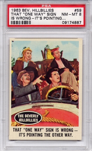 "1963 Beverly Hillbillies - That ""One Way"" Sign #59 PSA 8"