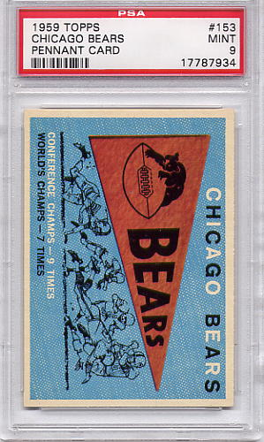 1959 Topps Chicago Bears Pennant Card #153 PSA 9