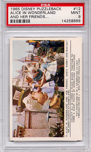 1965 Disney Puzzleback - Alice In Wonderland #12 PSA 9