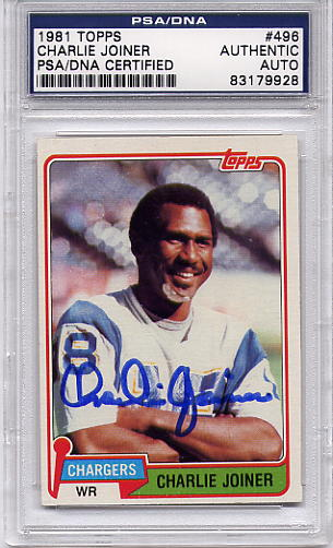 Charlie Joiner (HOF) PSA/DNA Certified Authentic Autograph - 1981 Topps