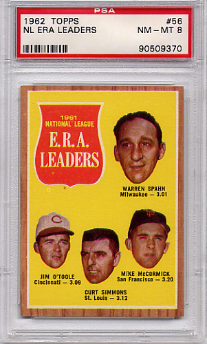 1962 Topps NL ERA Leaders #56 PSA 8