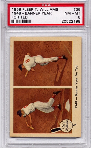 1959 Fleer Ted Williams - 1948 - Banner Year For Ted #36 PSA 8