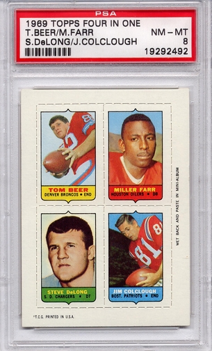 1969 Topps Four In One Beer/ Farr/ DeLong/ Colclough PSA 8