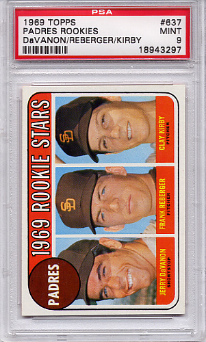 1969 Topps Padres Rookies #637 PSA 9