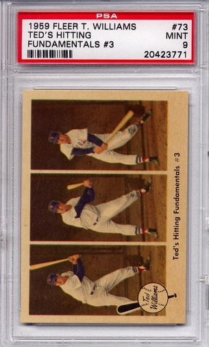 1959 Fleer Ted Williams - Ted's Hitting Fundamentals (3) - #73 PSA 9