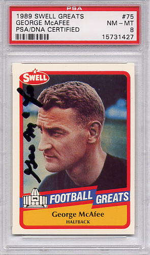George McAfee (HOF) PSA/DNA Certified Authentic Autograph - 1989 Swell Greats