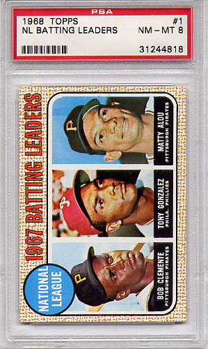 1968 Topps NL Batting Leaders #1 PSA 8