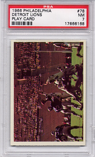 1966 Philadelphia - Detroit Lions Play Card #78 PSA 7