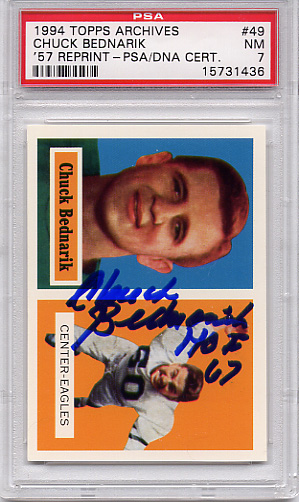 Chuck Bednarik PSA/DNA Certified Authentic Autograph - 1994 Topps Archives #49