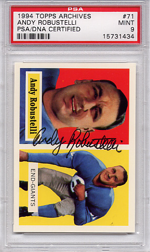 Andy Robustelli PSA/DNA Certified Autograph PSA 9