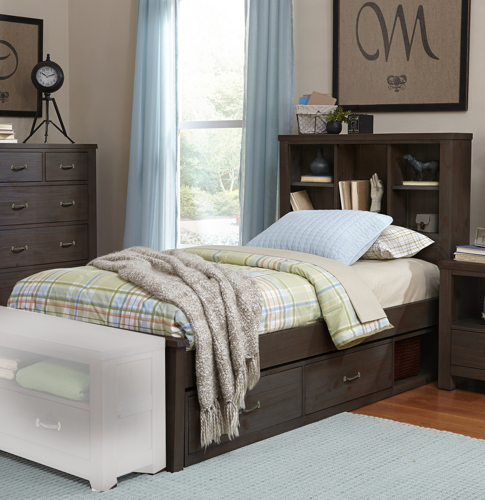Hillsdale Furniture NE Kids Highlands Collection Espresso Twin Bookcase Bed with Storage, Brown