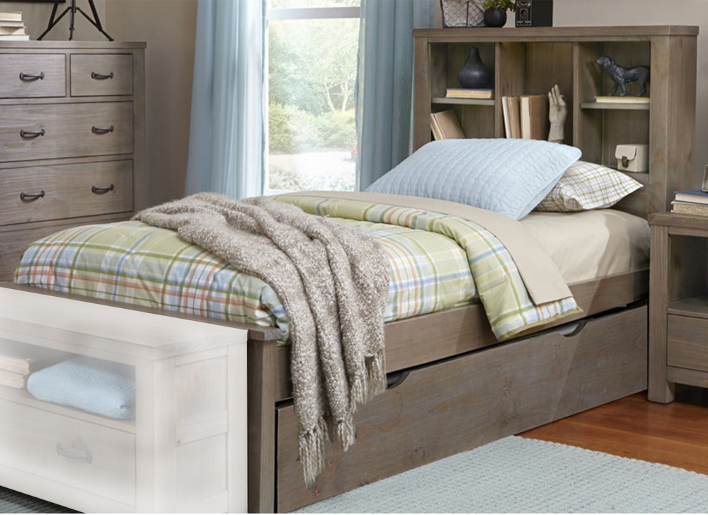NE Kids Hillsdale Highlands Driftwood Twin Bookcase Bed with Trundle, Beige