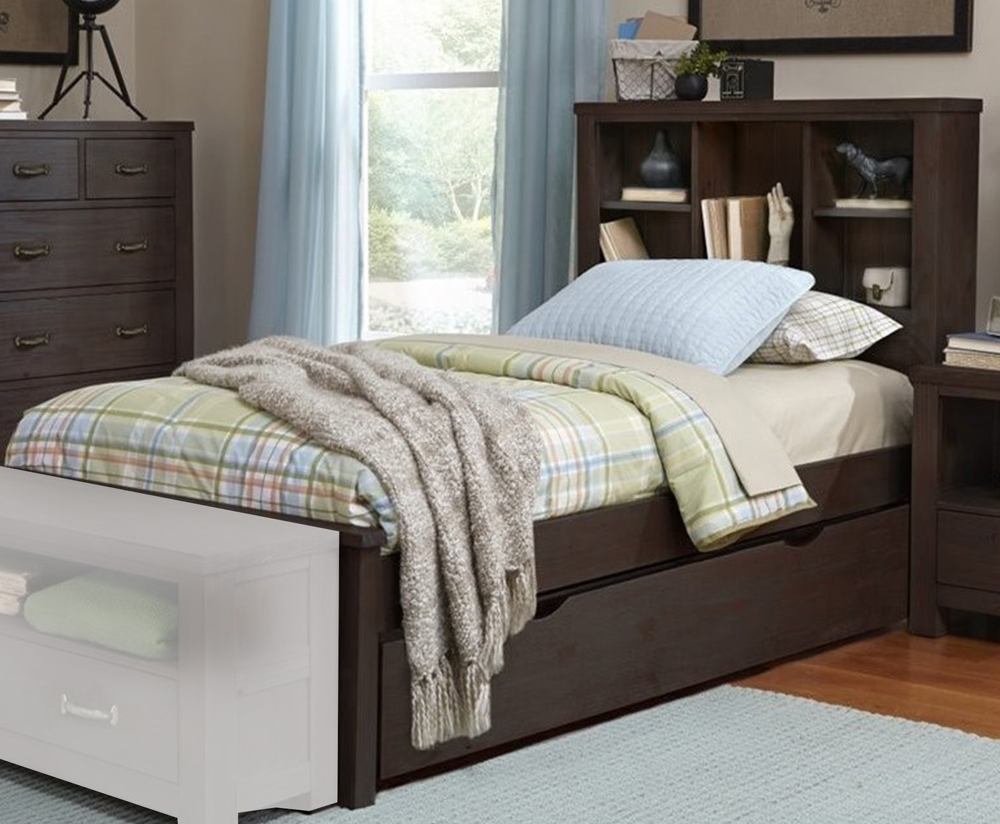 NE Kids Hillsdale Highlands Espresso Pinewood Twin Bookcase Bed and Trundle, Brown