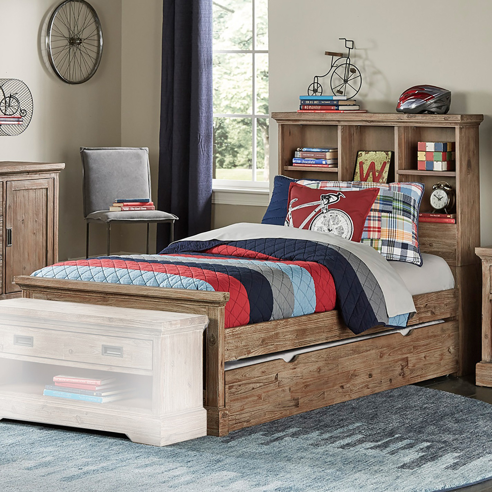 NE Kids Hillsdale Oxford Bookcase Twin Bed with Trundle, Cocoa, Brown