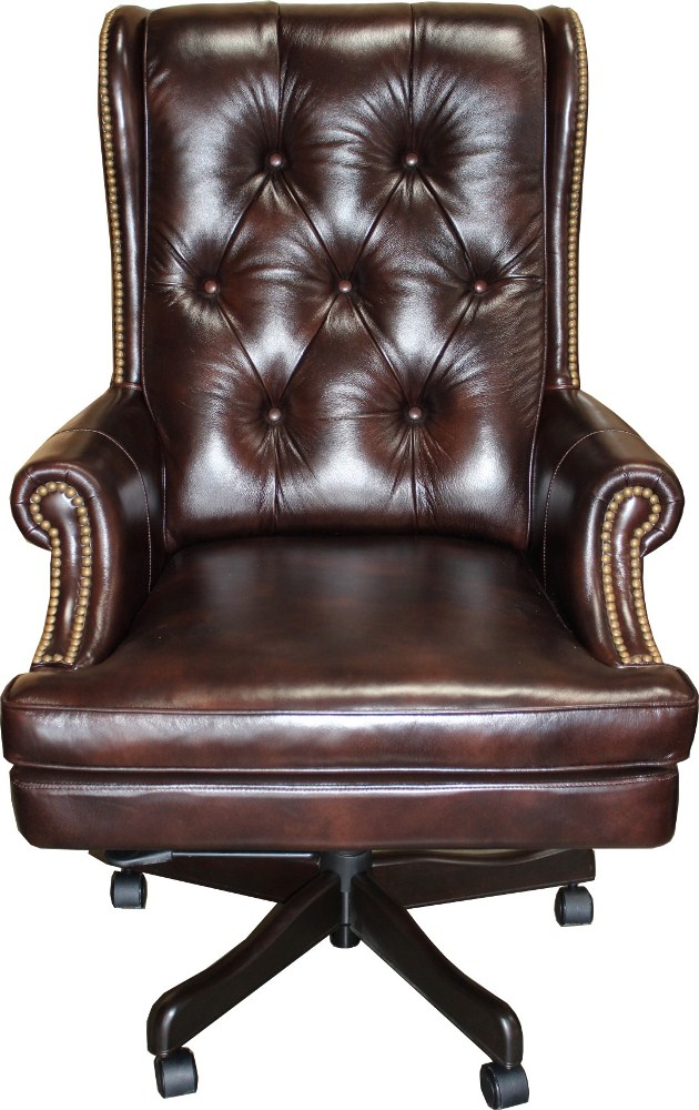 Parker House Leather Desk Chair In Havana & Brown Base Co...