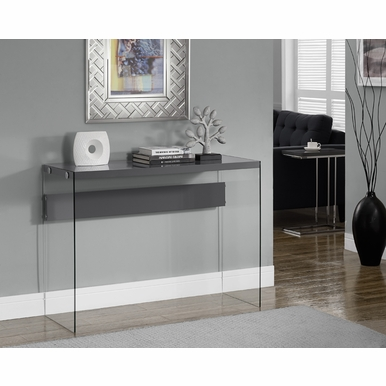 Monarch Specialties - Console Table Glossy Grey With Tempered Glass - I-3294