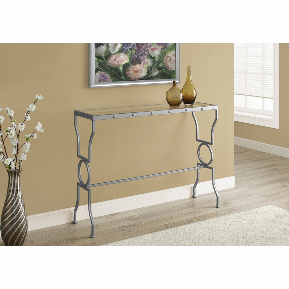 Merveilleux Monarch Specialties   Console Table Silver Metal With Tempered Glass    I 3325
