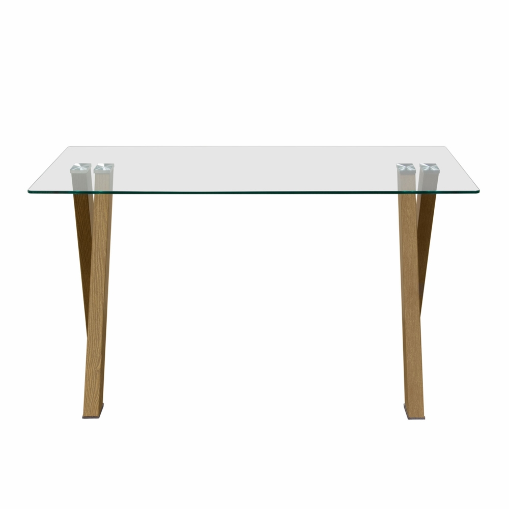 diamond sofa element rectangular glass top dining table with metal base in wood grain finish. Black Bedroom Furniture Sets. Home Design Ideas