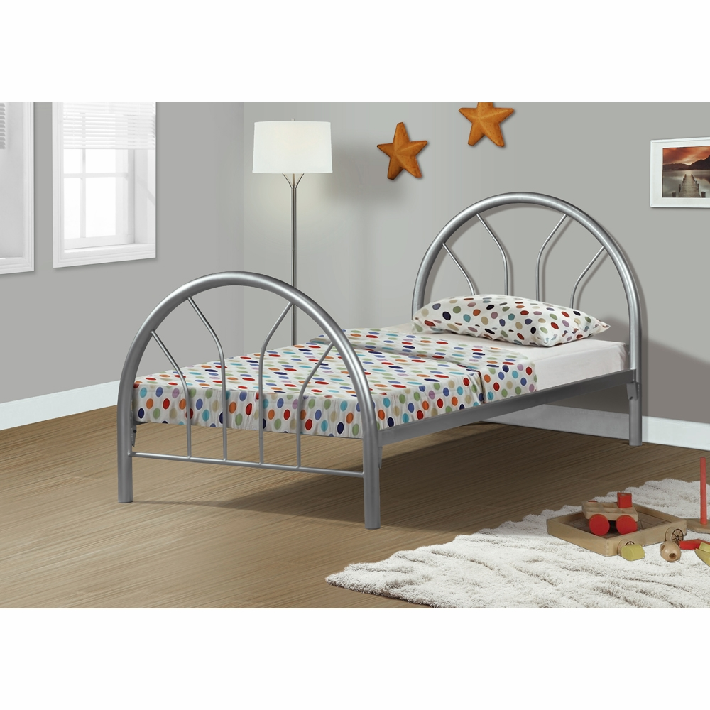monarch specialties bed twin size silver metal frame only i 2389s i 2389s. Black Bedroom Furniture Sets. Home Design Ideas