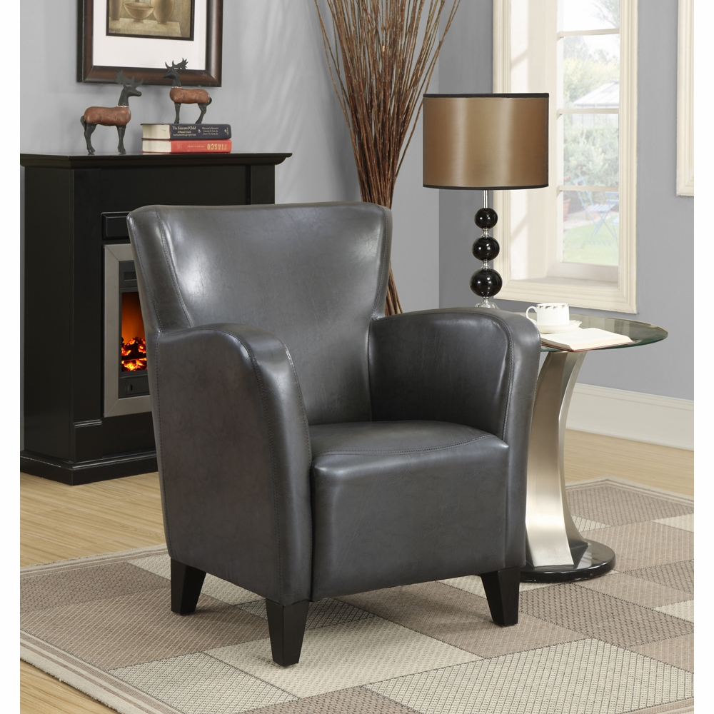 Monarch Specialties Accent Chair Charcoal Grey Leather