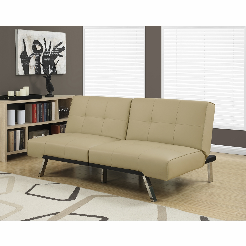 Monarch Specialties Futon Split Back Click Clack Taupe Leather Look I 8937