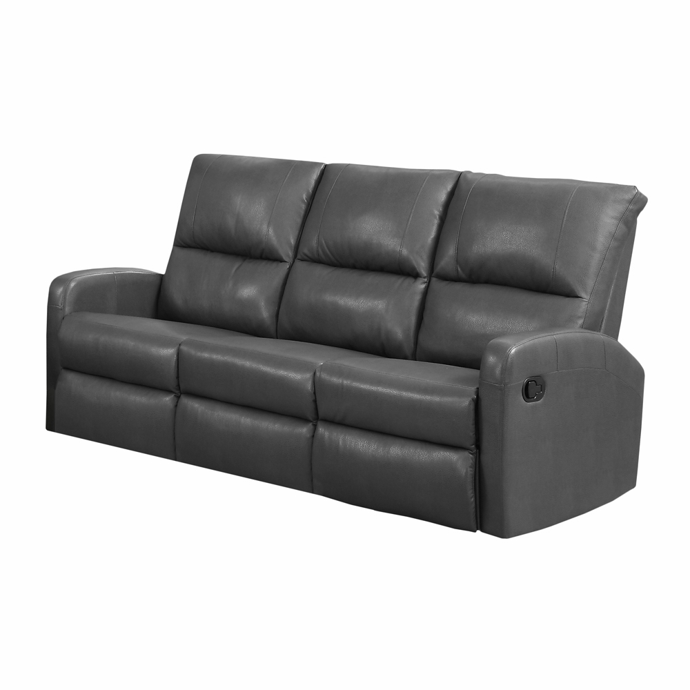 Monarch Specialties   Reclining Sofa Charcoal Grey Bonded Leather I 84Gy 3    I 84GY 3
