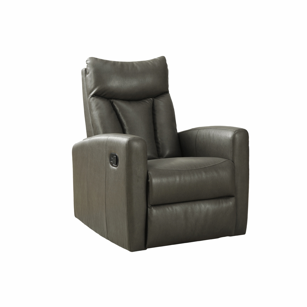 Monarch Specialties   Recliner Swivel Glider Charcoal Grey Bonded Leather I  8087Gy   I 8087GY