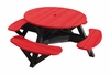 """CR Plastic Products - Generations 51"""" Round Picnic Table - Black Frame in Red - T51-01"""