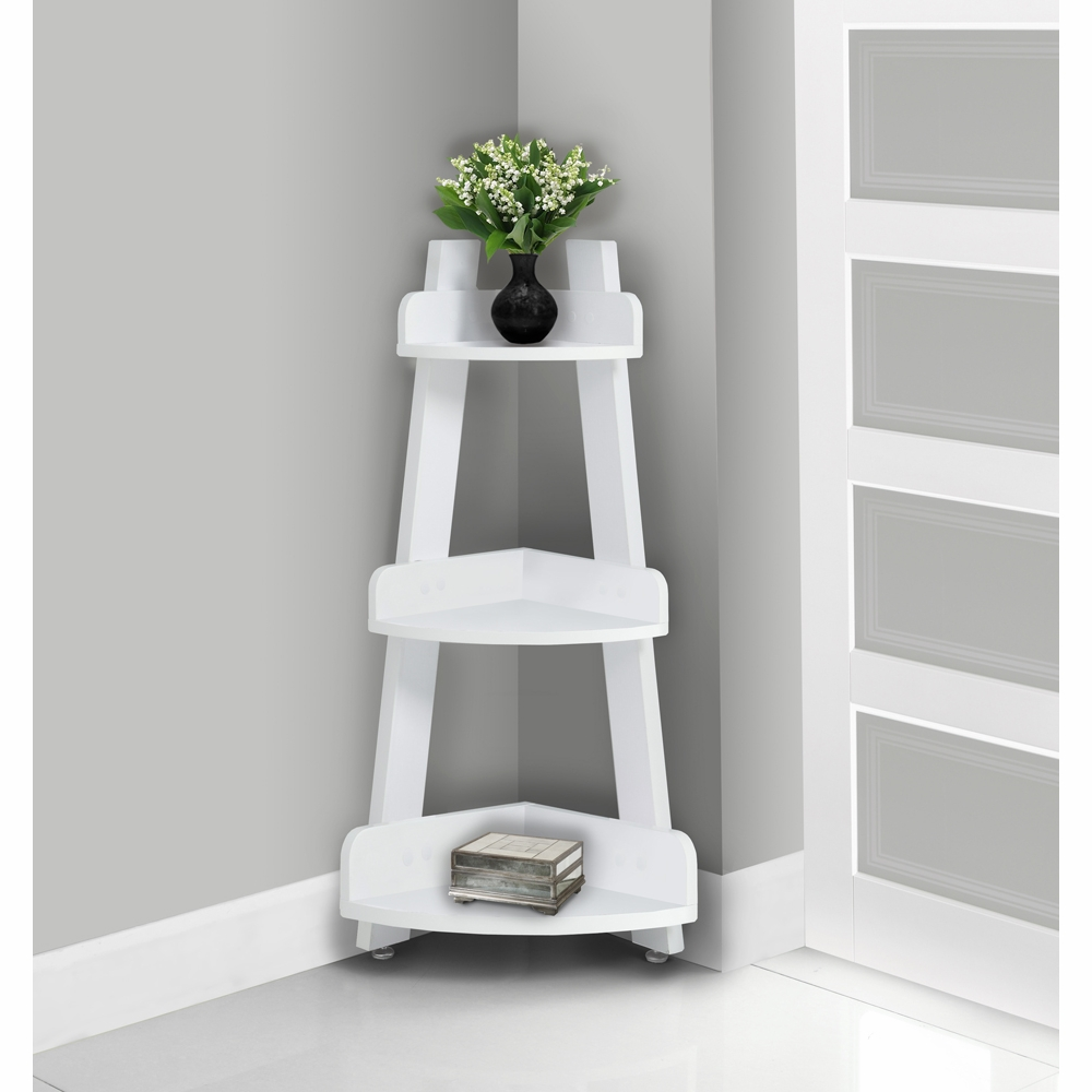 Monarch Specialties - Bathroom Accent 34H White Corner Etagere - I-3438