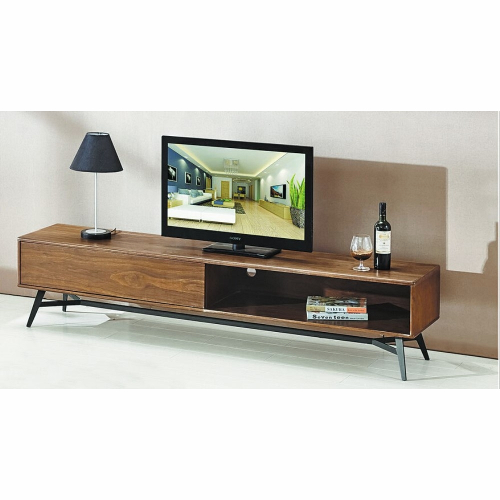 Captivating Diamond Sofa   Tempo Low Profile Entertainment Cabinet In Walnut Case And  Black Powder Coated Legs   TEMPOTV2