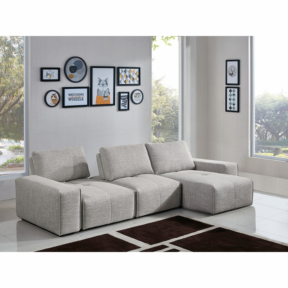 diamond sofa jazz modular 3 seater chaise sectional with adjustable backrests in light brown fabric
