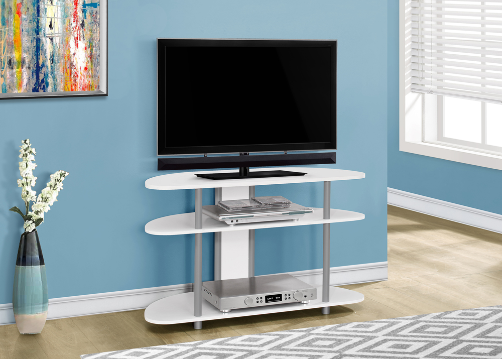 Monarch Specialties Tv Stand 38l White With Silver Accent...
