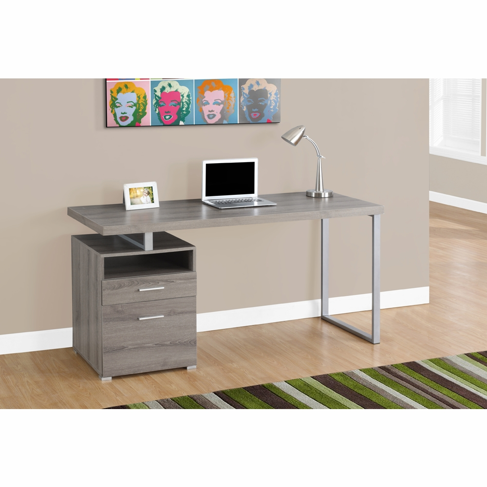 Monarch Specialties Computer Desk 60l Dark Taupe Silver Metal I 7145