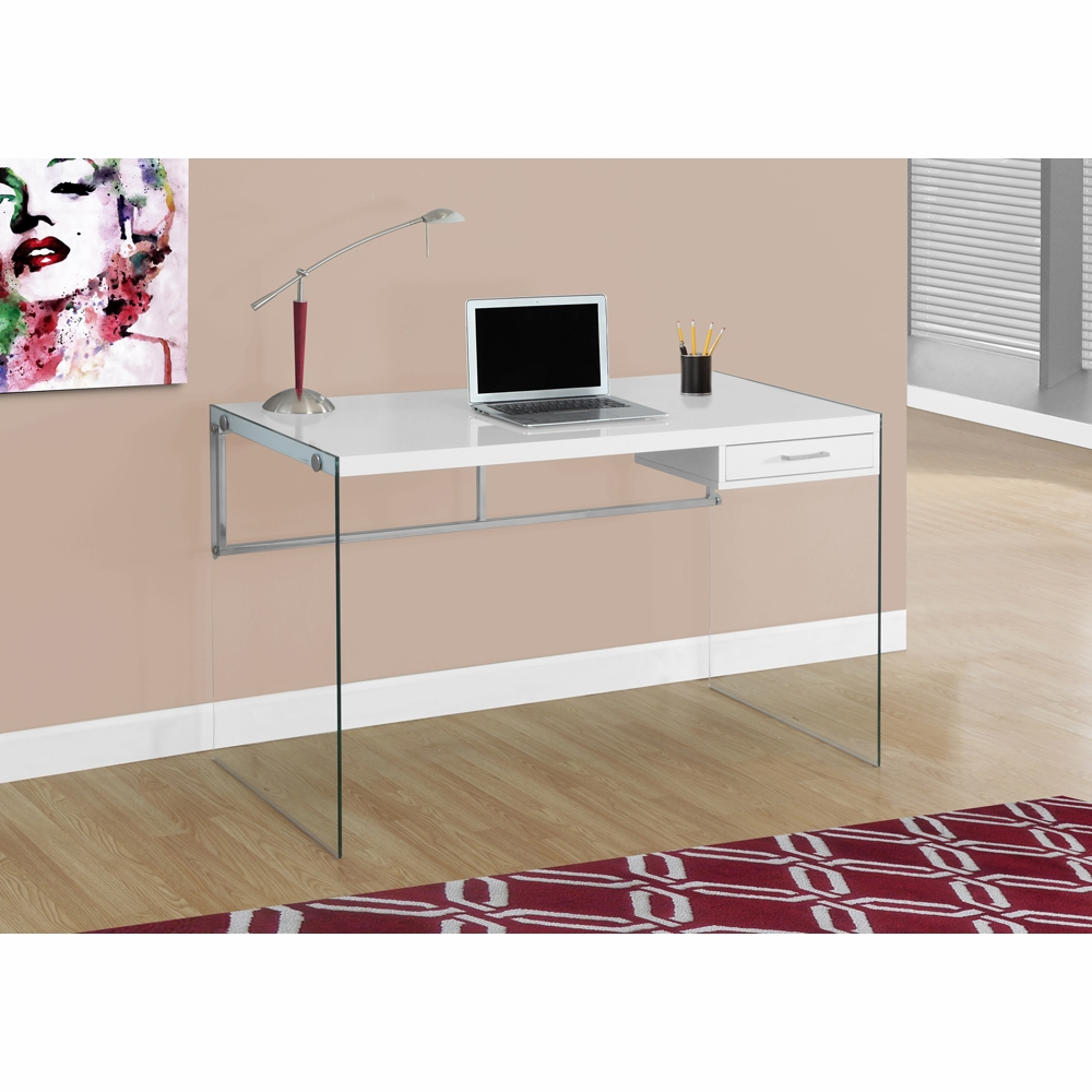 Monarch Specialties Computer Desk 48l Glossy White Tempered Glass I 7209