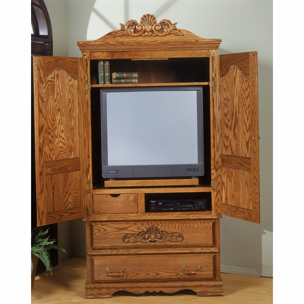 Bebe Furniture   Country Heirloom Large Tv Armoire With Wrap Around Doors  And Carving Detail   508