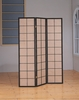 Monarch Specialties - Cappuccino 3 Panel Folding Screen With Fabric Inlay - I 4628